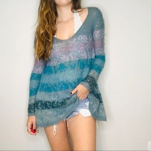 Free People blue striped oversized thin sweater